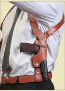 АПС Оперативная подплечная кобура с подсумком для запасного магазина (кожа)